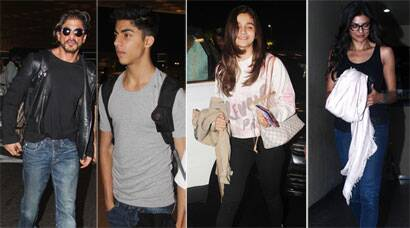 PHOTOS:  Shah Rukh with son Aryan Khan, B-Town girls Sushmita, Alia step out