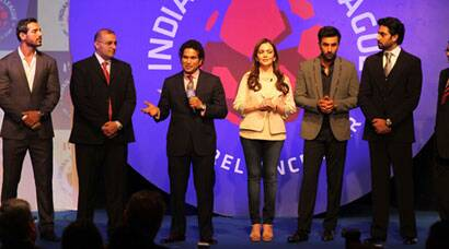 Nita Ambani soon shared stage with Bollywood megastars and top industrialists. But the moment of the ISL came when the Little Master Sachin Tendulkar arrived (Source: Express Photo by Pradeep Kocharekar)
