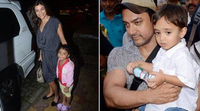 Aamir Khan, Sushmita Sen step out with their younger ones - Azad, Alishah