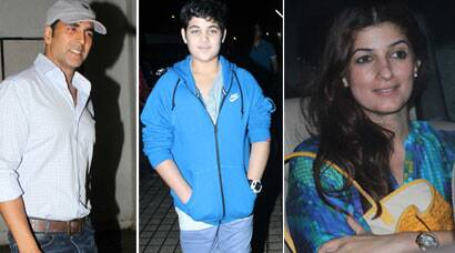 Akshay Kumar's movie outing with wife Twinkle and son Aarav