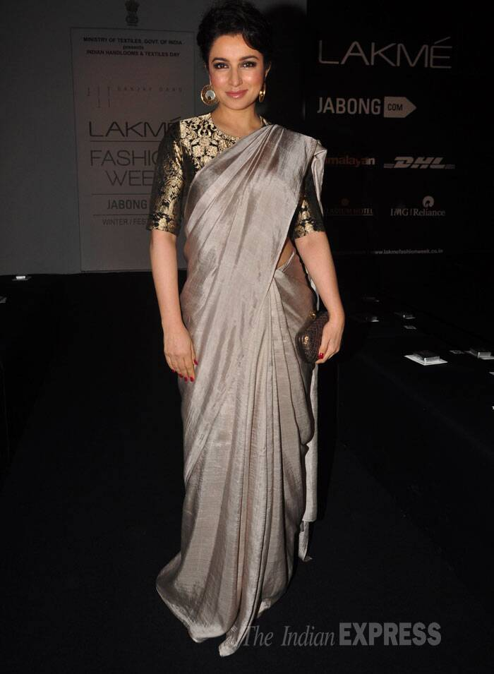 Actress Tisca Chopra also went the desi route in a metallic coloured sari. (Source: Varinder Chawla)