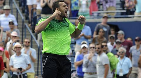Jo-Willfried Tsonga celebrates after win against Novak Djokovic in the Rogers Cup. Tsonga won 6-2 6-2. (Source: Reuters)
