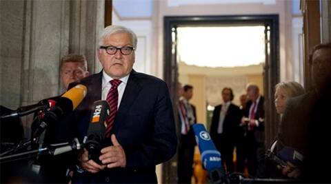 Foreign Minister of Germany Frank-Walter Steinmeier briefs the media after a meeting with his counterparts from Ukraine, Russia, and France at the Guesthouse of Foreign Ministry Villa Borsig in Berlin, Monday. ?(Source: AP photo)
