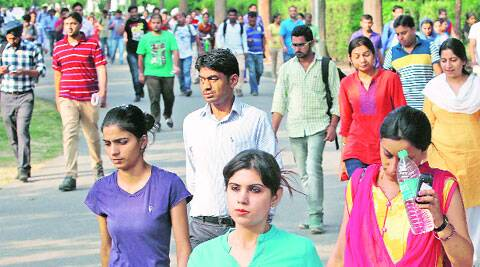 Outside an exam centre in Chandigarh on Sunday.