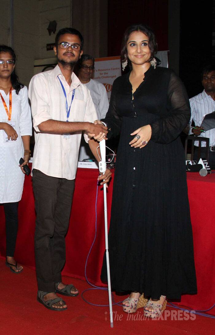 Vidya, who was last seen in 'Bobby Jasoos', distributed SmartCane and PLexTalk Vachak, the two affordable aids to assist the visually impaired, to 50 students. (Source: Varinder Chawla)