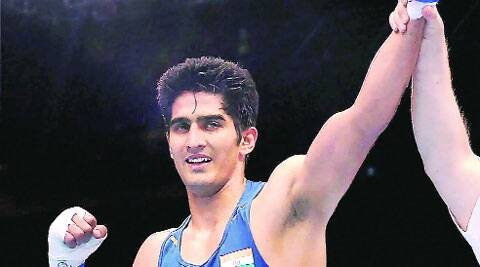 Vijender Singh has reached the semifinal at Glasgow.