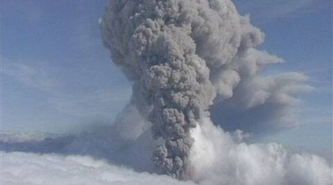 In this file picture taken from video of a column of ash rising from Iceland's Eyjafjallajokul volcano on 8 May 2010. Iceland has raised its aviation alert level for the risk of a possible volcanic eruption to orange _ the second-most severe level. (AP Photo)