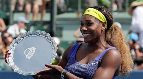 Serena Williams with the winners's trophy at the Stanfoed Open. (Source: AP)