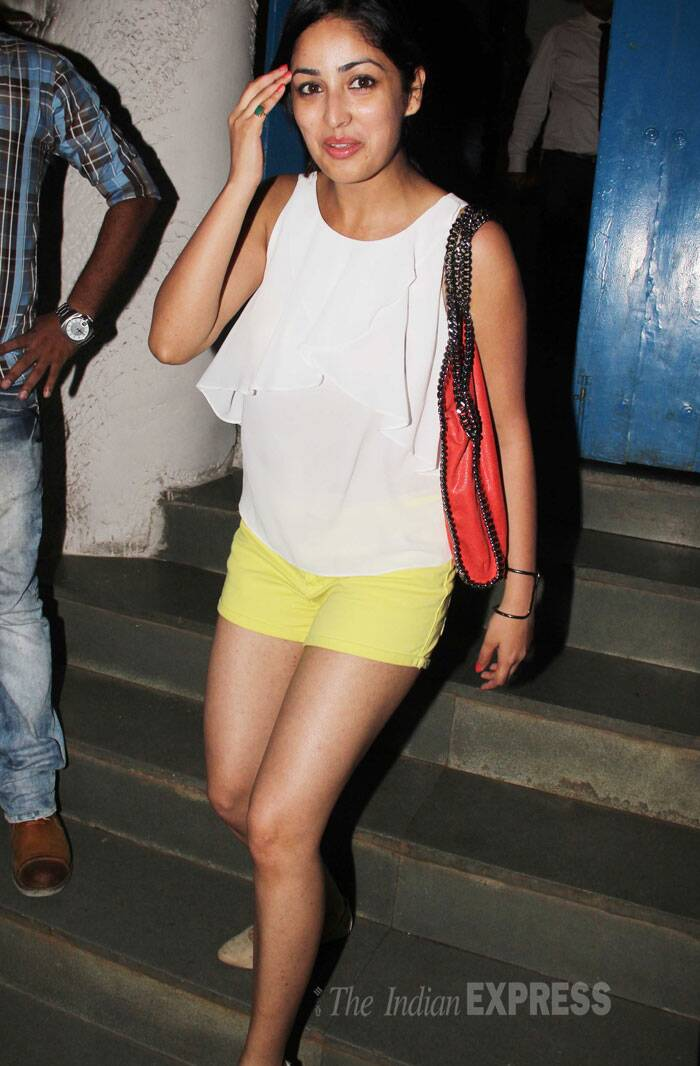 Film's other lead actress Yami Gautam was smoking hot in bright yellow shorts and a white sleeveless top. (Source: Varinder Chawla)