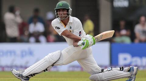Younis Khan sweeps on his way to his 25th century. (Source: AP)