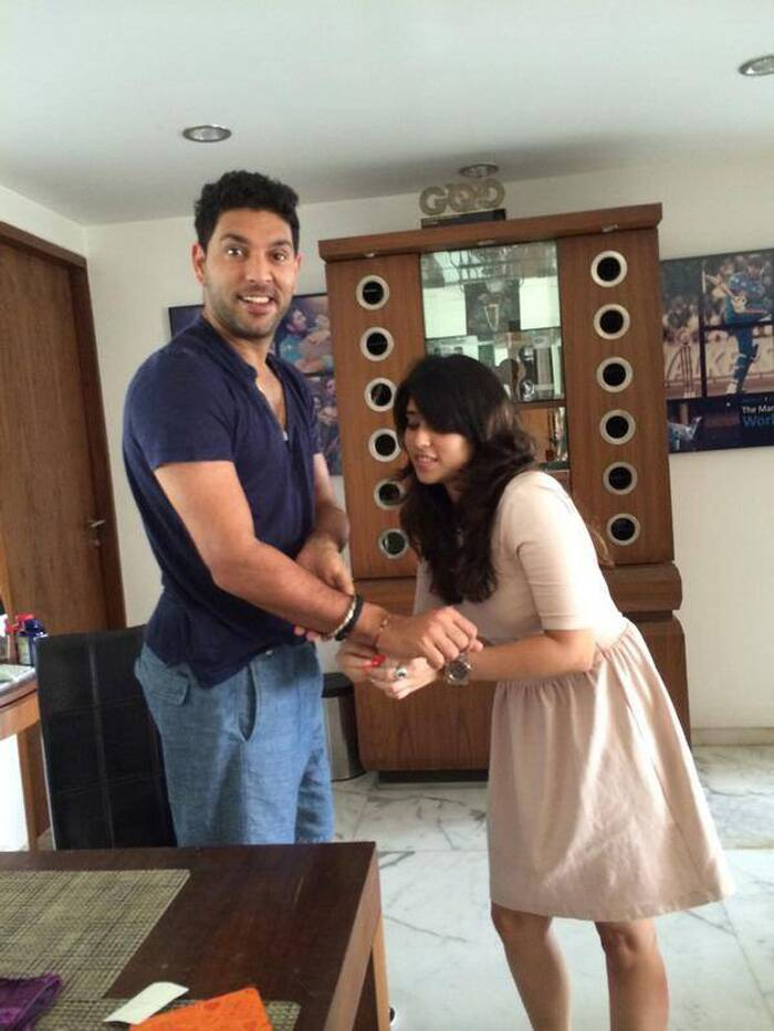"Cricketer Yuvraj Singh, who has a real brother Zoravar, was celebrating rakhi with his cousin sisters. Doting brother shared a few pics with his sisters. He wrote: ""My first sister of the Rakhi day my little marlow.. god bless you darling!"""