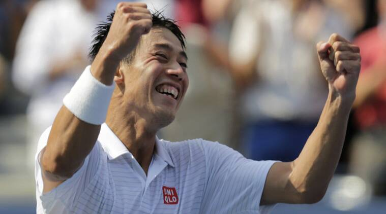 Japan's Nishikori is ecstatic after defeating Serbia's Novan Djoikovic at the US Open on Saturday. (Source: AP)