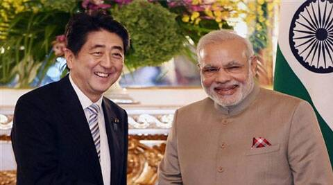 Prime Minister Narendra Modi with his Japanese counterpart Shinzo Abe before a delegation level meeting in Tokyo on Monday. (PTI Photo)
