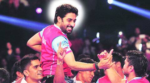 A jubilant  Abhishek Bachchan with  his kabaddi  team