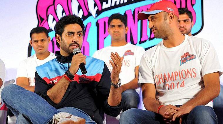 Jaipur Pink Panther's owner Abhishek Bacchan interacts with the media in Jaipur on Sunday. (Source: PTI)