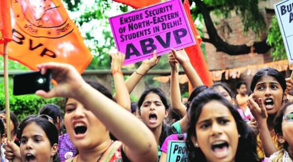 ABVP has accused NSUI presidential candidate Gaurav Tushir and vice-presidential candidate Mona Chaudhary of admission irregularities