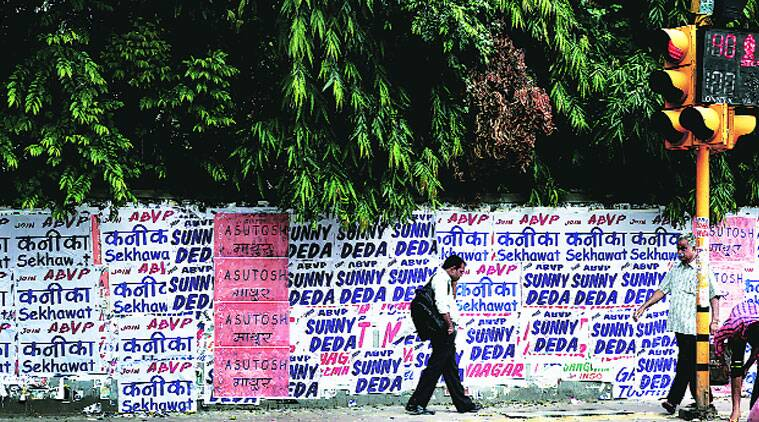 Posters of ABVP candidates on North Campus ahead of DUSU polls. (Source: Express Archive)