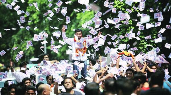 Mohit Nagar of the BJP's student wing, ABVP, was elected president of Delhi University Students' Union. (Express photo by Praveen Khanna)