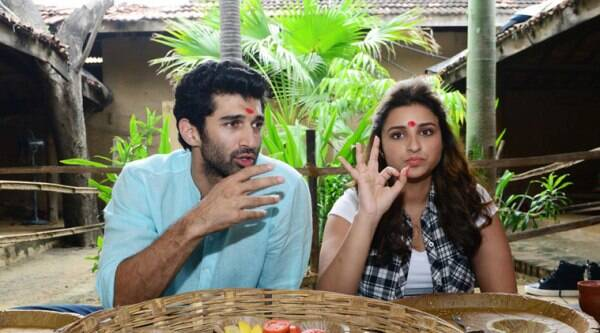 Parineeti and Aditya also sang along with them.   In this pic Aditya Roy Kapoor and Pareeniti Chopra taking Gujarati lunch during a promotional event of 'Daawat-e-Ishq' in Ahmedabad on Saturday. (Source: PTI)