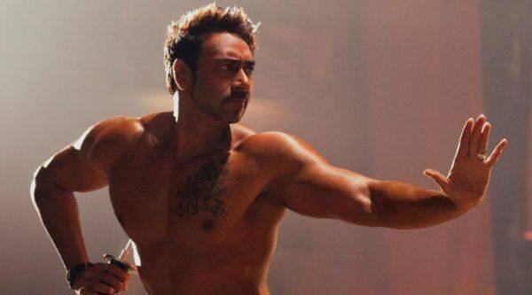 Ajay Devgn took to twitter to share pictures of his impressive muscles for his upcoming film, 'Action Jackson'.