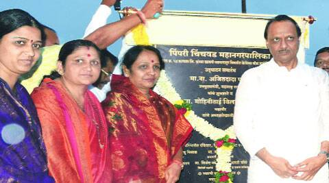 Ajit Pawar at the inauguration of a chowk beautification project at Pimple Nilakh on Sunday. (Source: Express Archives)