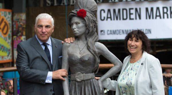Amy Winehouse's life-sized bronze statue was placed at Camden's Stable Market, North London. (Source: AP)