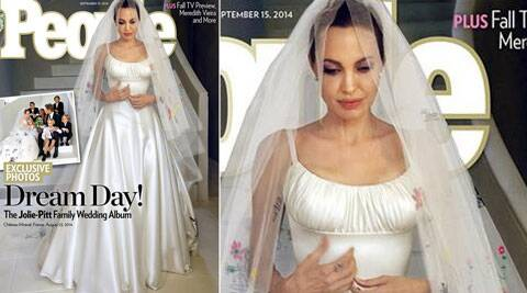 Angelina Jolie's gown featured colourful drawings and scribblings by Jolie and Pitt's six children – Maddox, Pax, Zahara, Shiloh, Knox and Vivienne.