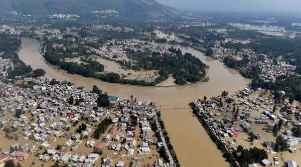An aerial view of flooded areas in Srinagar on Thursday. (Source: PTI)