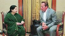 Jayalalithaa, Chief Minister of Chennai and Hollywood actor Arnold Schwarzenegger