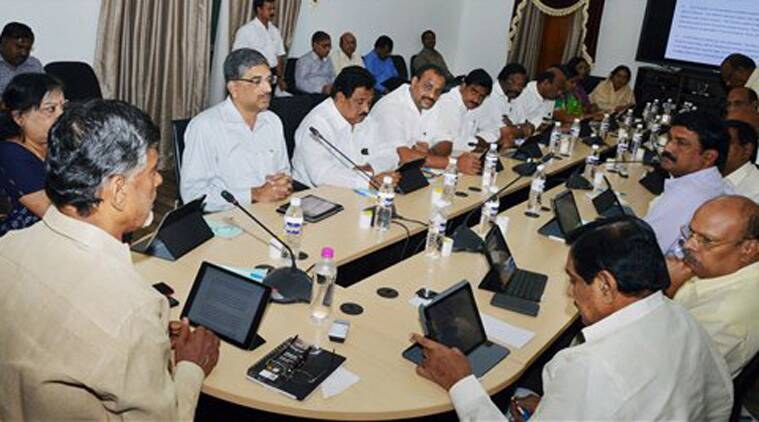 Nara Chandrababu Naidu, Chief Minister of Andhra Pradesh introduces the first e-Cabinet meeting in Hyderabad on Monday saying a good bye to meeting with papers. (Source: PTI)