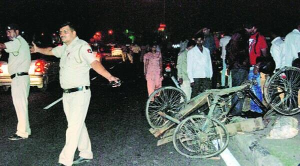 After the accident near the Housing Board light point in Manimajra on Sunday night. (Source: Express)