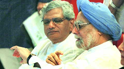 Former PM Manmohan Singh (right) and Sitaram Yechury (left) at the prayer meeting on Tuesday. ( Source: Express photo by Anil Sharma )