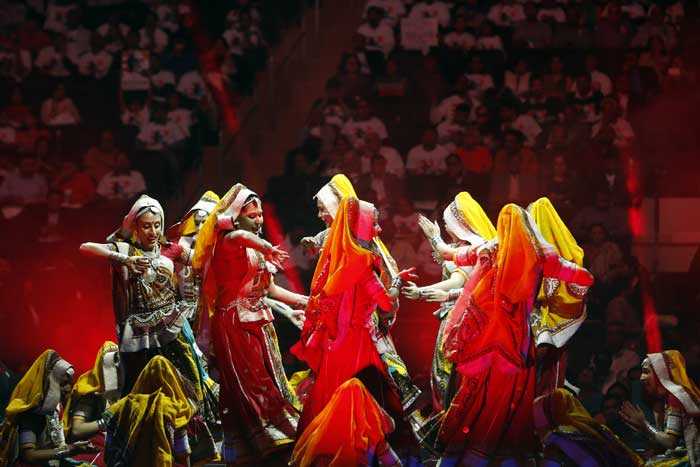 Traditional Rajasthani dancers perform during a reception by the Indian community in honor of Indian Prime Minister Narendra Modi's visit to the United States at Madison Square Garden on Sunday, Sept. 28, 2014, in New York. (Source: PTI)