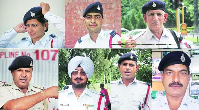 Clockwise: Constable Sonia, Constable Deepak, Head Constable Mohinder Singh, Head constable  Om Parkash, Constable Devinder, Head Constable Paramjit Singh and ASI Balbir Singh