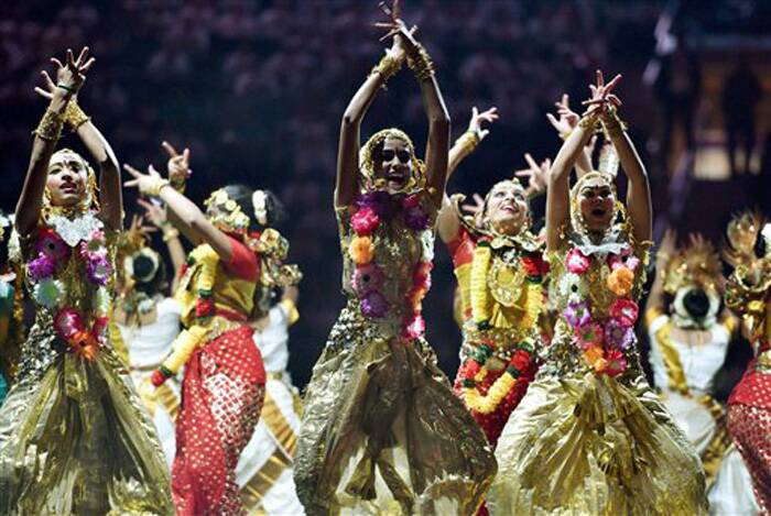 Artists perform during a reception organised in the honour of Prime Minister Narendra Modi by the Indian American Community Foundation at Madison Square Garden in New York on Sunday. (Source: PTI)