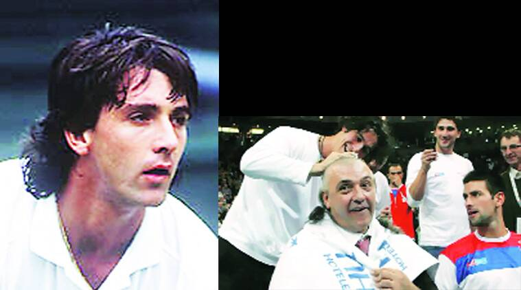 (Left) Slobodan 'Bobo' Zivojinovic during his playing days.(Right) Zivojinovic gets his hair shaved court-side after the Novak Djokovic-led Serbia side won the Davis Cup title in 2010.