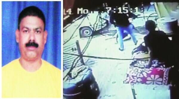 (From left) Ishwar Lal, CCTV footage showing the attacker, Mahesh Shershia (in black shirt).