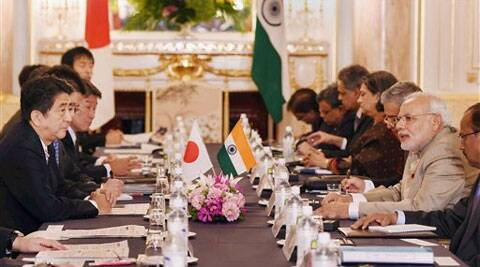 Prime Minister Narendra Modi and his Japanese counterpart Shinzo Abe at a delegation level meeting in Tokyo on Monday. (PTI Photo)