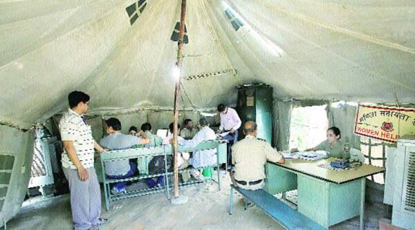 The Burari police station functions out of a tent. Besides, there is no privacy for complainants at the women's helpdesk.