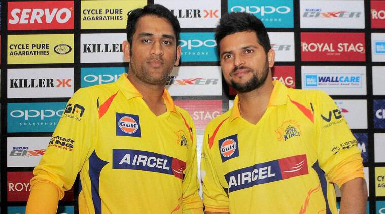 MS Dhoni (L) was accompanied by middle order batsman Suresh Raina (R) and Chennai Super Kings coach Stephen Fleming to the press conference. (Source: PTI)