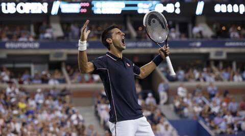 Novak Djokovic of Serbia reacts after winning a 29 shot rally in the first set against  Andy Murray (Source: Reuters)