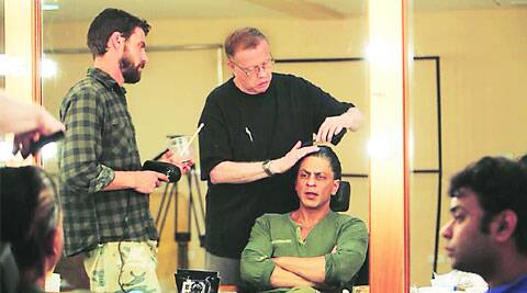 Shah Rukh Khan with director Maneesh Sharma and make-up artist Greg Cannom