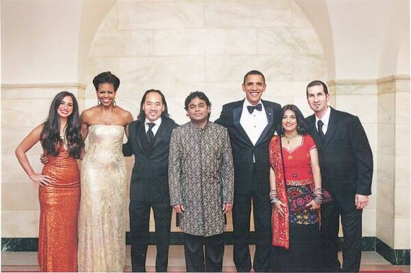 Falguni Shah; with AR Rahman and Obama at the White House in 2009.