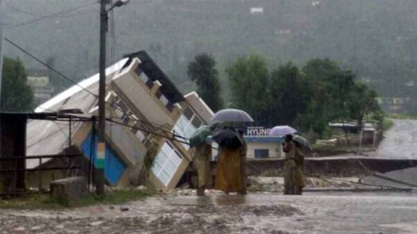 Doru Verinag bridge collapses due to flood in Poonch, Jammu and Kashmir on Thursday. (PTI Photo)