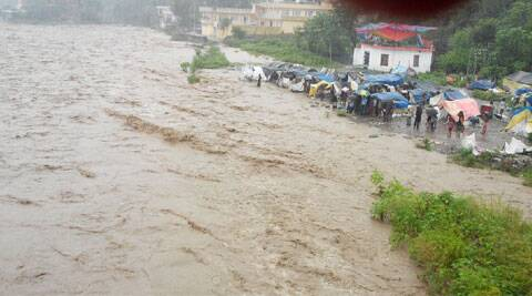 The power supply and telecommunication services across the district were disrupted, while vehicular was suspended following extensive damage to roads and bridges at various places. (Source: Express photo by Arun Sharma)