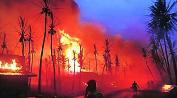 The fire after the pipeline blast in Nagaram.Source: PTI