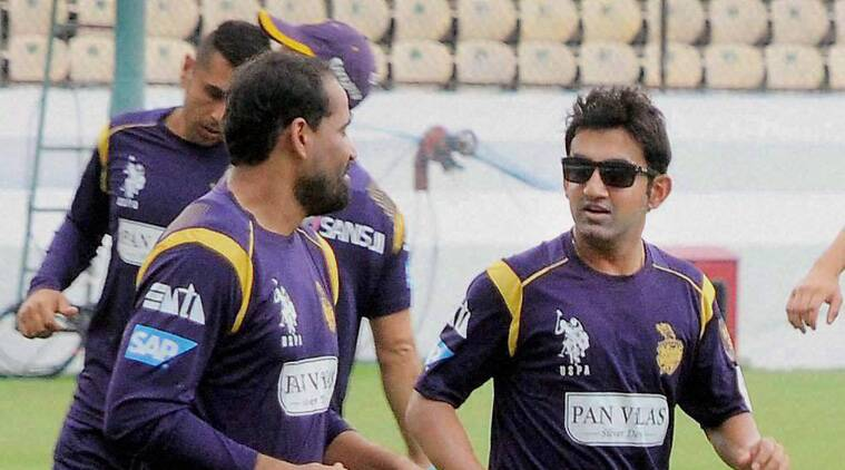 Gautam Gambhir and Yusuf Pathan during a practice session ahead of their CLT20 opener against CSK (Source: PTI)
