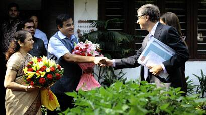 Bill Gates meets Nitin Gadkari
