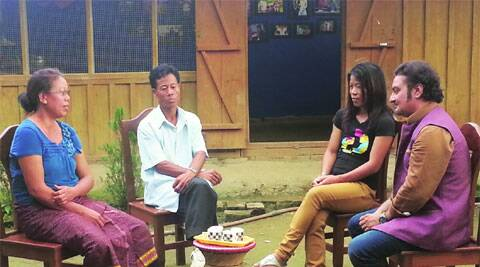 Vinay Pathak and Mary Kom with her family members at her childhood home in Imphal