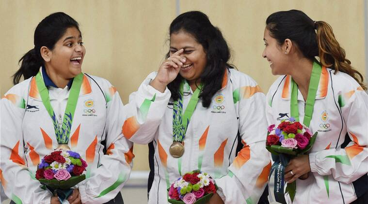 India's bronze medal winner Anisa Sayyed, Rahi Sarnobat and Heena Sidhu during the medal ceremony of in the 25m Pistol women's shooting event at the 17th Asian Games at Ongnyeon International Shooting Range in Incheon (Source: AP)